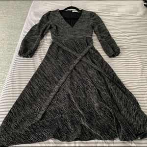 Alice + Olivia. Silver & black midi cocktail dress